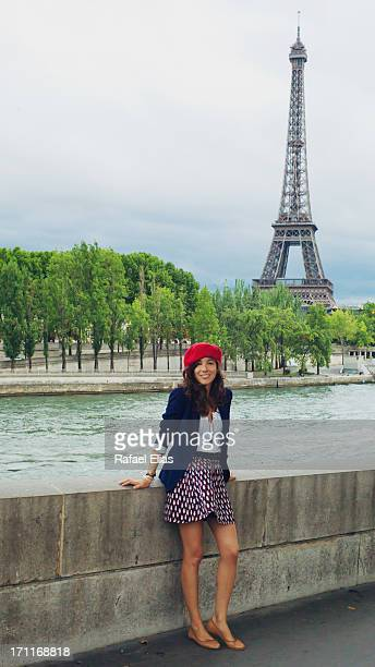 French girl with Eiffel Tower in the background