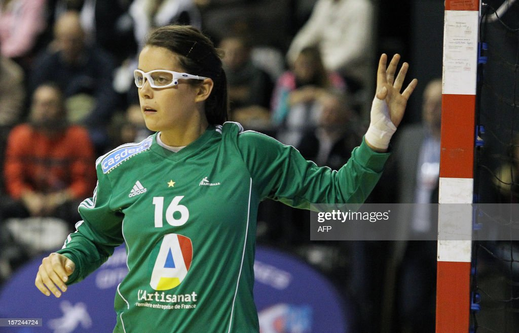 French goalkeeper Cleopatre Darleux waits for the ball during the friendly women's handball match France vs Spain, on November 30, 2012 at the Palais des victoires sports hall, in Cannes, southeastern France.