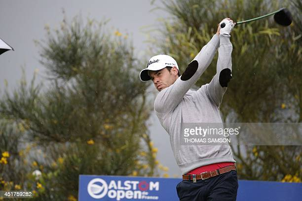 French golfer Victor Riu plays a shot during the final round of the Open de France on July 6 2014 at Le Golf National in Guyancourt near Paris AFP...