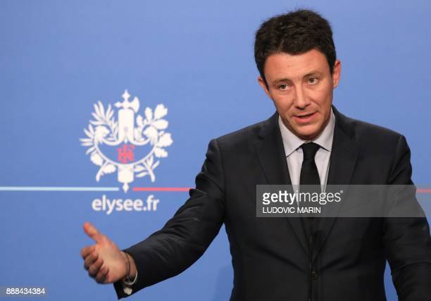 French Government's Spokesperson Benjamin Griveaux gives a press conference after the weekly Cabinet meeting on December 8 2017 at the Elysee palace...