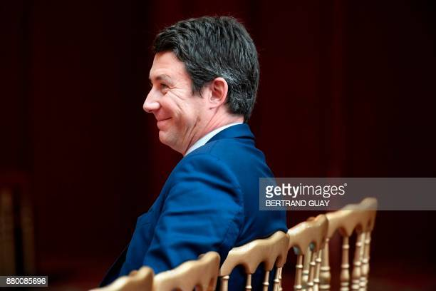 French Government's Spokesperson Benjamin Griveaux smiles during a press briefing following the weekly Cabinet meeting on November 27 2017 at the...