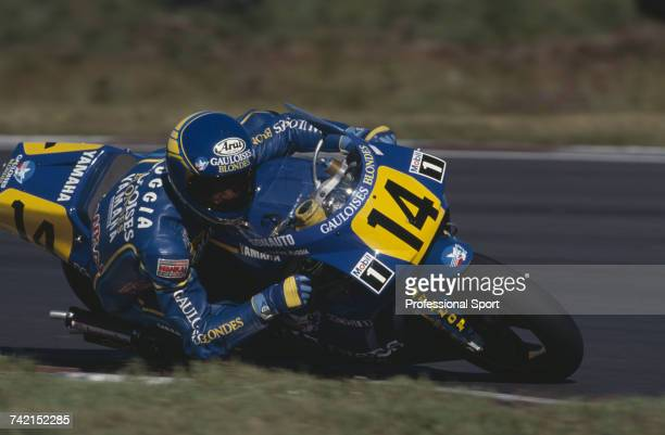 French Grand Prix motorcycle road racer JeanPhilippe Ruggia rides the 500cc SonautoYamaha to finish in 7th place in the 1990 Swedish motorcycle Grand...
