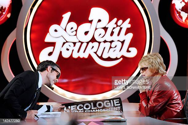 French Green Party 'Europe Ecologie Les Verts' candidate for the 2012 French presidential election Eva Joly takes part in the TV show 'Le petit...