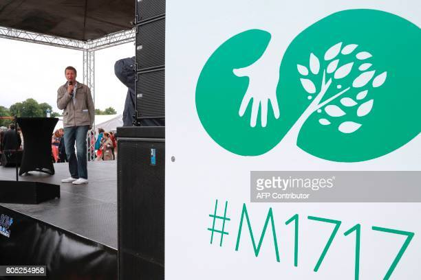 French Green Party EuropeEcologieLes Verts member and member of the European Parliament Yannick Jadot delivers a speech during a rally for the launch...
