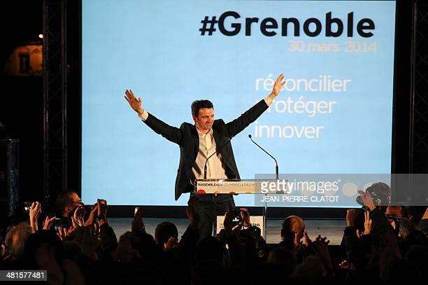 French Green party newly elected mayor of Grenoble Eric Piolle adresses his supporters after the second round of the French municipal elections on...