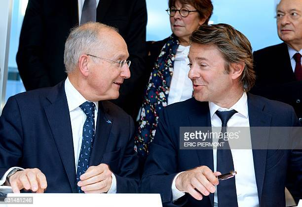 French group La Poste CEO Philippe Wahl and Mayor of Troyes and president of the Association of the Mayors of France Francois Baroin attend the...