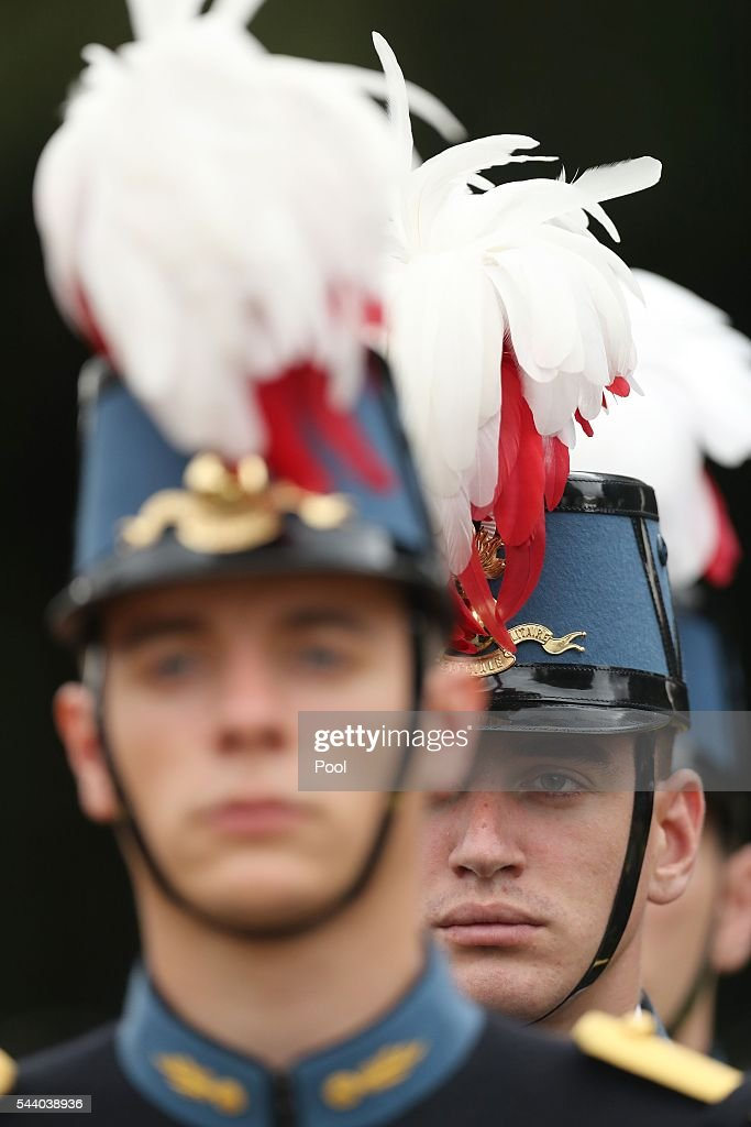 French guards at a service to mark the 100th anniversary of the start of the battle of the Somme at the Commonwealth War Graves Commission Memorial on July 1, 2016 in Thiepval, France. The event is part of the Commemoration of the Centenary of the Battle of the Somme at the Commonwealth War Graves Commission Thiepval Memorial in Thiepval, France, where 70,000 British and Commonwealth soldiers with no known grave are commemorated.