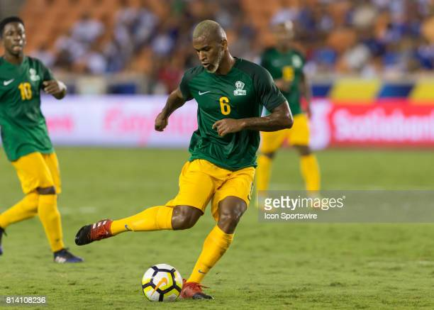 French Guiana defender Kevin Rimane prepares to send the ball during the CONCACAF Gold Cup Group A match between Honduras and French Guiana on July...