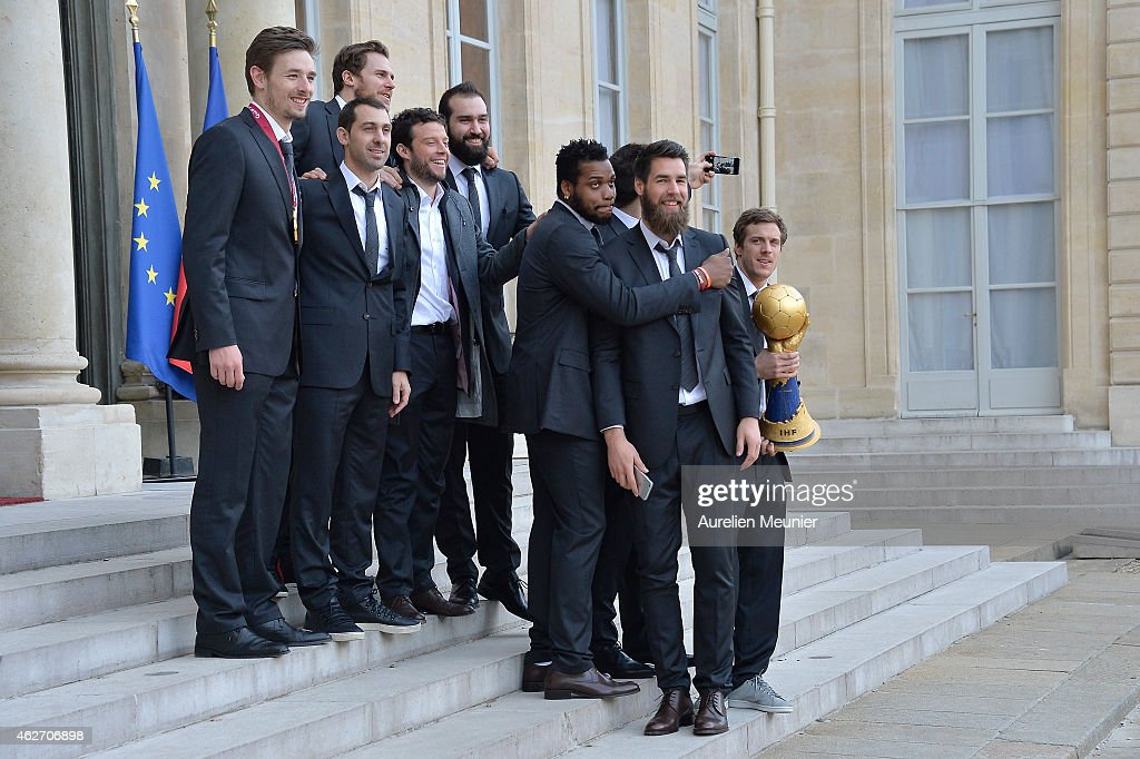 French handball national team players (L-R) <a gi-track='captionPersonalityLinkClicked' href=/galleries/search?phrase=Xavier+Barachet&family=editorial&specificpeople=4312948 ng-click='$event.stopPropagation()'>Xavier Barachet</a>, <a gi-track='captionPersonalityLinkClicked' href=/galleries/search?phrase=Michael+Guigou&family=editorial&specificpeople=791016 ng-click='$event.stopPropagation()'>Michael Guigou</a>, William Accambray, Guillaume Joli, Igor Anic, <a gi-track='captionPersonalityLinkClicked' href=/galleries/search?phrase=Cedric+Sorhaindo&family=editorial&specificpeople=564416 ng-click='$event.stopPropagation()'>Cedric Sorhaindo</a>, Luka Karabatic and Kentin Mahe arrive at the Elysee Presidential Palace prior to a meeting with French President, Francois Hollande on February 3, 2015 Paris, France. France became the first team in handball history to win five world championships when they beat surprise finalists Qatar 25-22 on February 1, 2015.