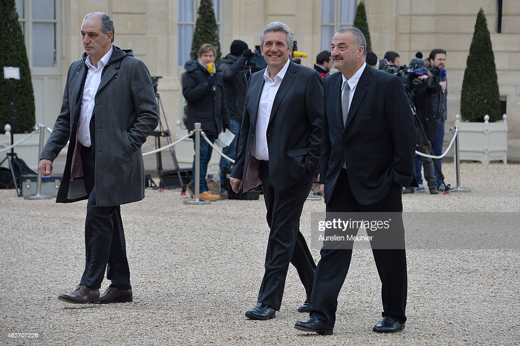 French President Francois Hollande Receives French Handball National Team After They Won The 24th Men's Handball World Championships