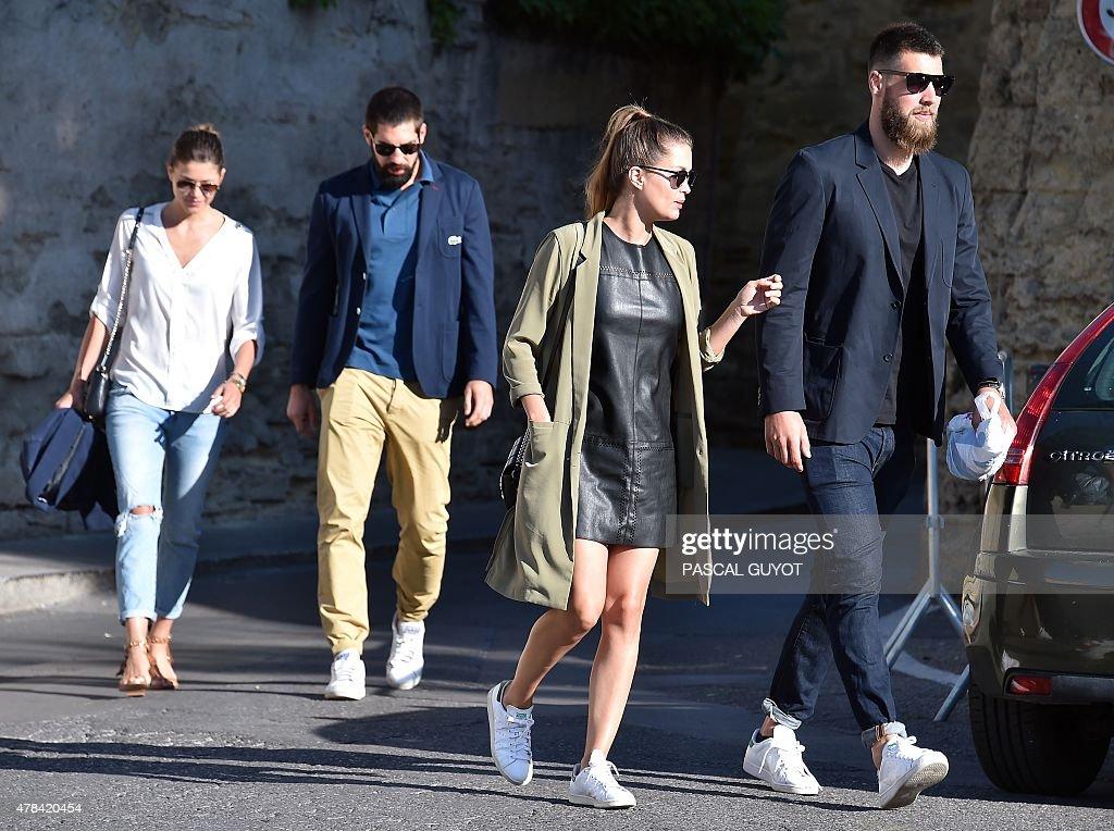 French handball player Nikola Karabatic and his girlfriend Geraldine Pillet and French handball player Luka Karabatic with his girlfriend Jennifer...