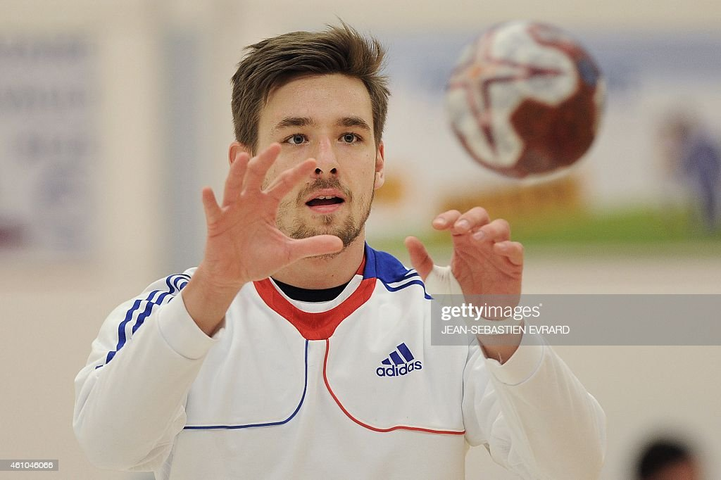 French handball player <a gi-track='captionPersonalityLinkClicked' href=/galleries/search?phrase=Xavier+Barachet&family=editorial&specificpeople=4312948 ng-click='$event.stopPropagation()'>Xavier Barachet</a> takes part in a training session on January 5, 2015 in Pornic, western France, as part of the French national handball team's preparations ten days before the 2015 Handball World Championship in Qatar.