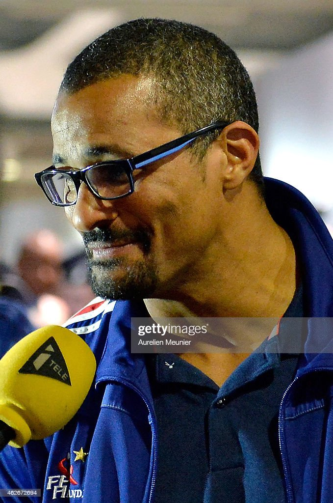 French handball world champion <a gi-track='captionPersonalityLinkClicked' href=/galleries/search?phrase=Didier+Dinart&family=editorial&specificpeople=710241 ng-click='$event.stopPropagation()'>Didier Dinart</a> arrives to Aeroport Roissy Charles de Gaulle on February 2, 2015 in Paris, France. The French Handball National Team won their fifth world championship against Qatar in Doha yesterday.