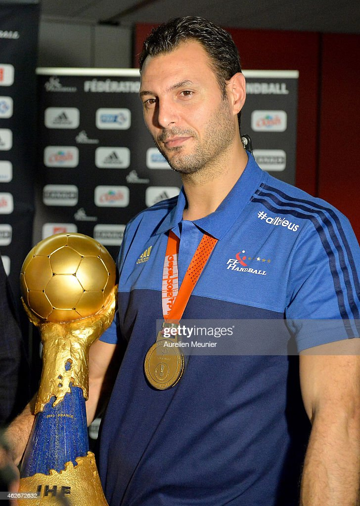 French handball world champion <a gi-track='captionPersonalityLinkClicked' href=/galleries/search?phrase=Jerome+Fernandez&family=editorial&specificpeople=791049 ng-click='$event.stopPropagation()'>Jerome Fernandez</a> arrives to Aeroport Roissy Charles de Gaulle on February 2, 2015 in Paris, France. The French Handball National Team won their fifth world championship against Qatar in Doha yesterday.