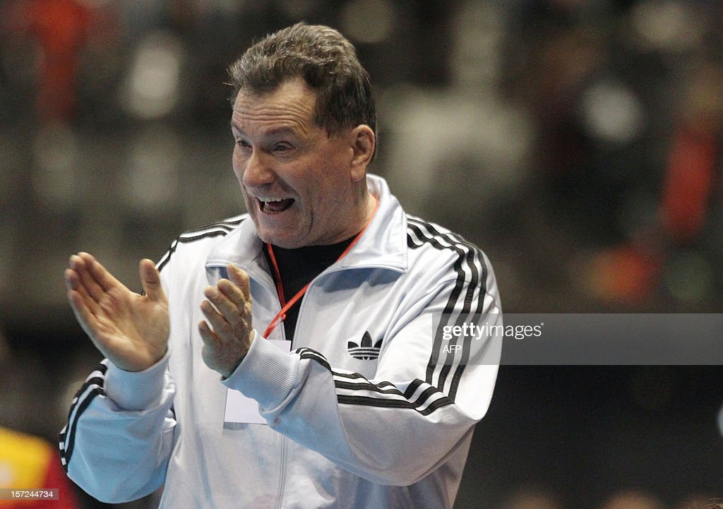 French head coach Olivier Krumbholz reacts during the friendly women's handball match France vs Spain, on November 30, 2012 at the Palais des victoires sports hall, in Cannes, southeastern France. AFP PHOTO / JEAN CHRISTOPHE MAGNENET