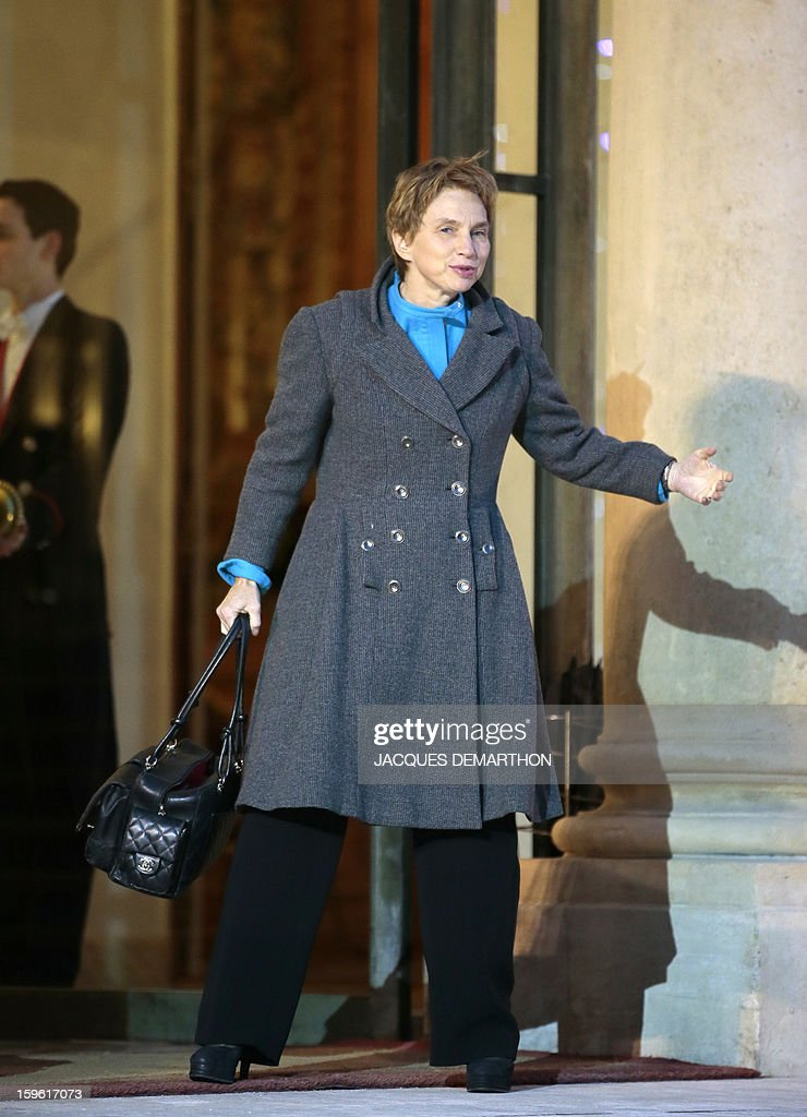 French head of French employers association Medef Laurence Parisot gestures as she arrives for the New Year wishes ceremony to economic and social leaders, at the Elysee Palace in Paris, on January 17, 2013