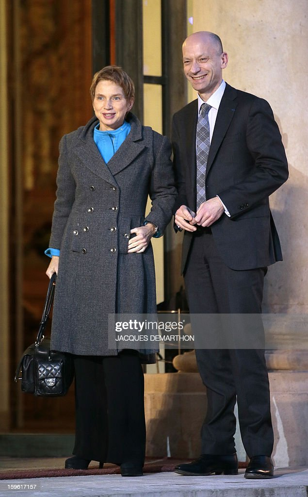 French head of French employers association Medef Laurence Parisot (L) and Michel Guilbaud, Director General, pose as they arrive for the New Year wishes ceremony to economic and social leaders, at the Elysee Palace in Paris, on January 17, 2013