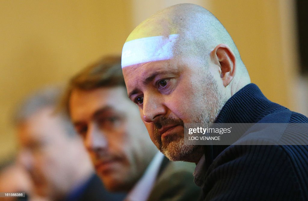 French head of Visualforensic and infographist Philippe Froesch takes part in a press conference in Paris on February 12, 2013, to present the reconstruction of the head of Henri IV. This reconstruction was made three years after a panel of forensic scientists identified the skull of the king who was murdered at the age of 57 on May 14, 1610, by a fanatic. Scientists headed by France's Philippe Charlier found a common genetic profile between the mummified head of Henri IV and dried blood from his descendant, Louis XVI.