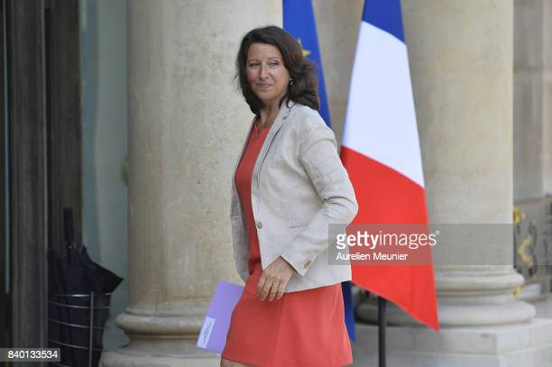 French Health and Solidarity Minister Agnes Buzyn arrives at Elysee Palace for a cabinet meeting on August 28 2017 in Paris France