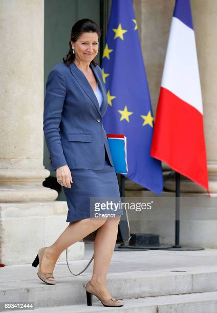 French Health and Solidarity Minister Agnes Buzyn leaves the Elysee Presidential Palace after weekly cabinet meeting on June 07 2017 in Paris France...