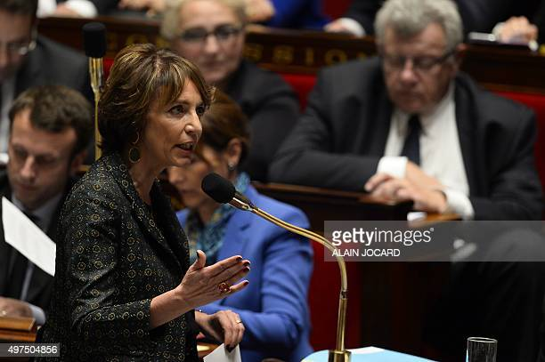 French Health minister Marisol Touraine addresses the French National Assembly during a session of questions to the Government on November 17 2015 in...