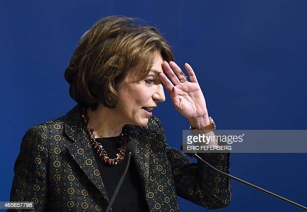 French Health Minister Marisol Touraine gestures as she speaks during the presentation of France's new Public Healthcare Bill on March 9 2015 at the...