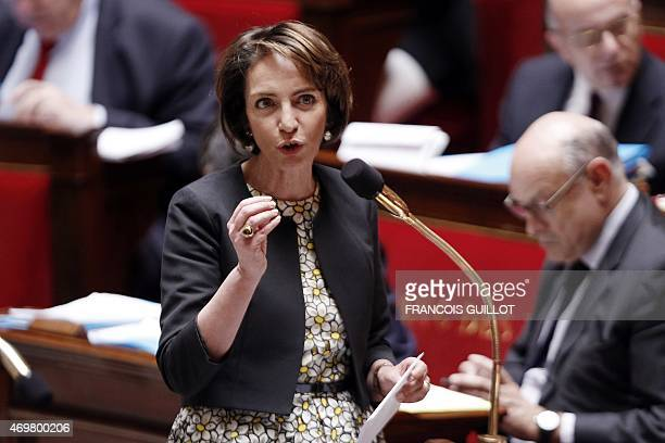French Health Minister Marisol Touraine gestures as she speaks during a session of questions to the government at the National Assembly in Paris on...