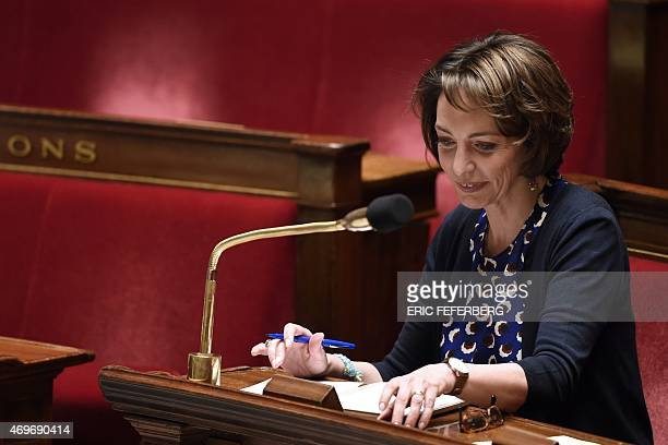 French Health Minister Marisol Touraine looks on during a discussion regarding a proposed health bill at the National Assembly in Paris on April 14...