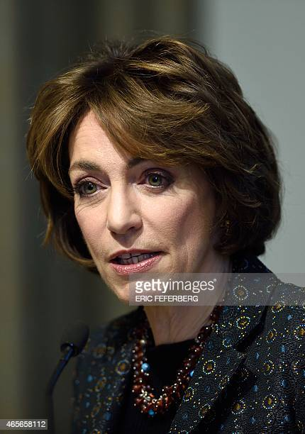 French Health Minister Marisol Touraine speaks during the presentation of France's new Public Healthcare Bill on March 9 2015 at the Health ministry...