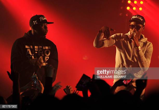French hiphop band MHD performs at the 40th edition of 'Le Printemps de Bourges' rock and pop music festival in Bourges on April 16 2016 / AFP /...