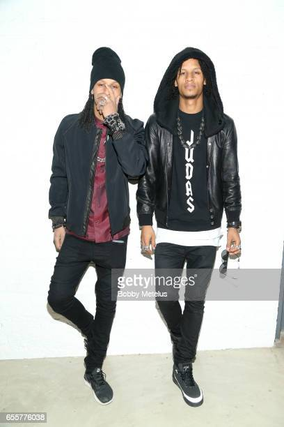 French HipHop Dancers 'Les Twins' strike a pose backstage at Dwyane Wade's A Night on the Runwade Fashion Event at Revel Fulton Market on March 19th...