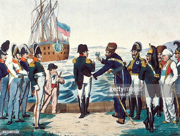 French history Historical illustrations Napoleon Bonaparte *17691821 French Emperor Napoleon being shipped to Saint Rapheau in his exile in Elba...