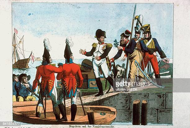 French history Lithographs / engravings from the 19th century Napoleon Bonaparte *17691821 French Emperor Napoleon being shipped to Saint Rapheau in...