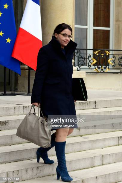 French Housing Minister Cecile Duflot leaves the Elysee Palace after the weekly cabinet meeting on November 27 2013 in Paris France The theme of the...