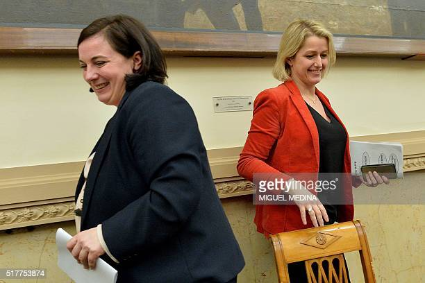 French Housing Minister Emmanuelle Cosse and French Junior Minister Barbara Pompili smile during the second meeting of the new ecologist party '...