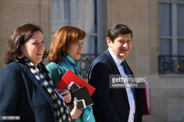 French Housing Minister Emmanuelle Cosse French Minister for Family Children and Women's Rights Laurence Rossignol and French Minister for Cities...