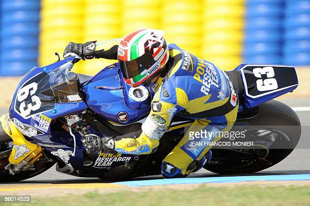 French Hugo Marchand rides on his Honda N°63 during the Le Mans 24 Heures endurance race Super Pole session on April 17 2009 in Le Mans western...
