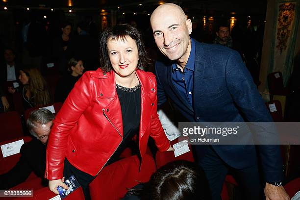 French humorist Anne Roumanoff and french humorist Nicolas Canteloup attend the Nikos Aliagas Wax Work Unveiling at Musee Grevin In Paris at Musee...