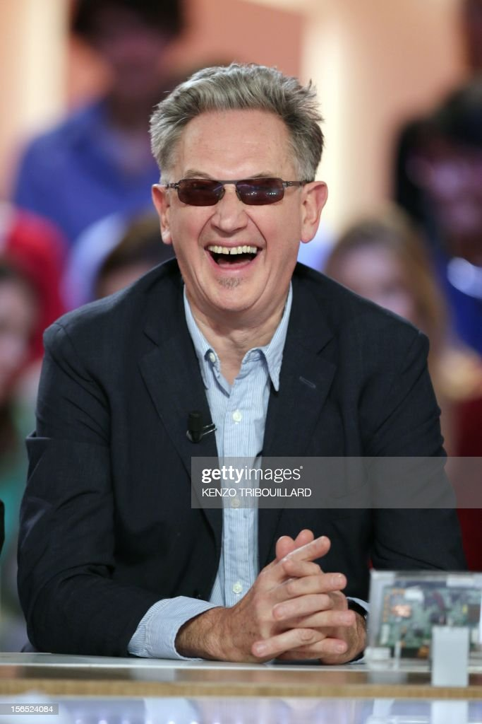 French humorist Benoit Delpine takes part in the TV show 'Le grand journal' on a set of French TV Canal+, on November 16, 2012 in Paris.