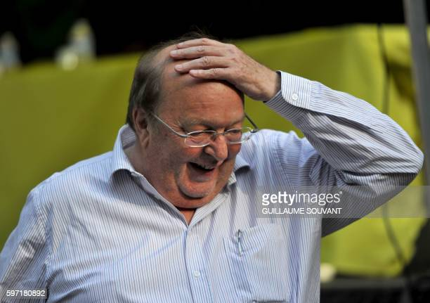 French humorist Bernard Mabille reacts during the 21th book fair La Foret Des Livres on August 28 2016 in ChanceauxprèsLoches central France / AFP /...