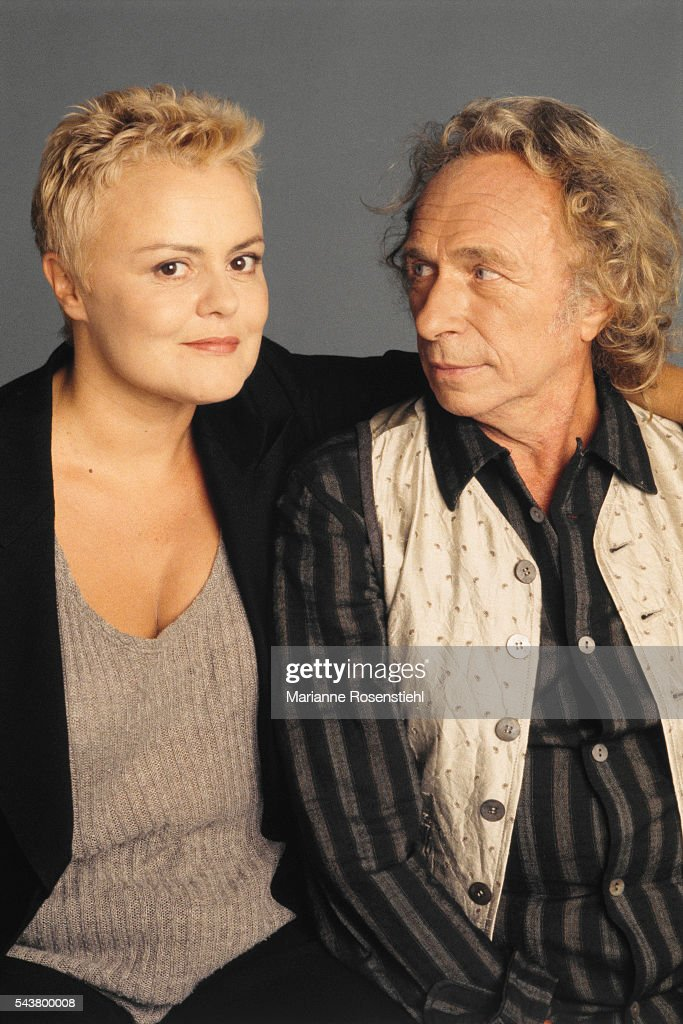 French humorist Muriel Robin and French actor and director Pierre Richard together on stage in On purge bébé and Feu la mère de madame by Georges...