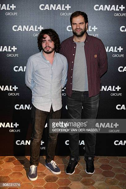 French humorists Eric Metzger and Quentin Margot arrive for the gala soiree organised by the French television Groupe Canal in Paris on February 3...