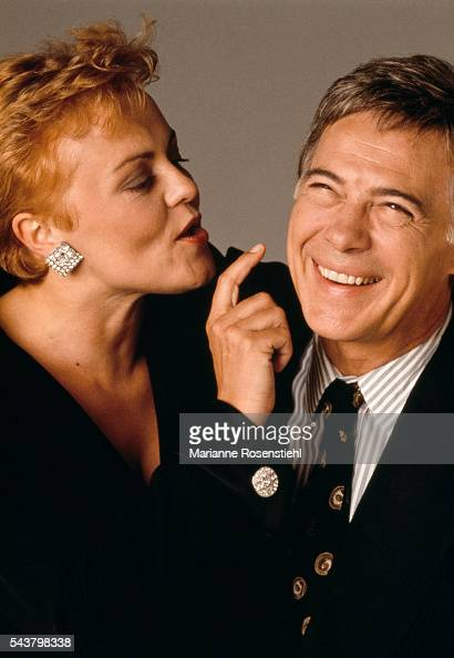 French humorists Muriel Robin and Guy Bedos share a laugh together