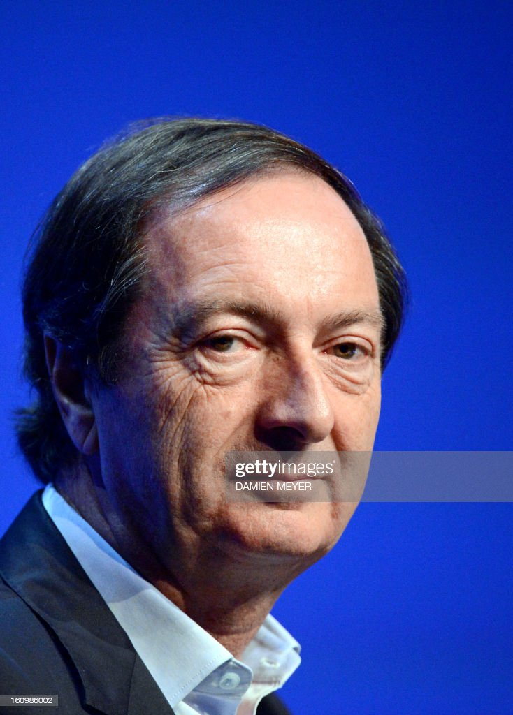 French hypermarket chain E. Leclerc's president Michel-Edouard Leclerc attends a general meeting of the 'Made in Britanny' association in Saint-Malo, western France on February 8, 2013. AFP PHOTO DAMIEN MEYER