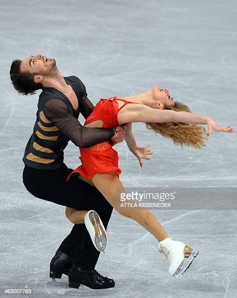 French ice dance pair Gabriella Papadakis and Guillaume Cizeron perform their free dance programme during the ISU European Figure Skating...