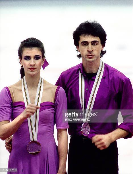 French ice dancer Isabelle Duchesnay and her brother Paul stand on the podium during the medals' ceremony at the Winter Olympic Games 17 February...