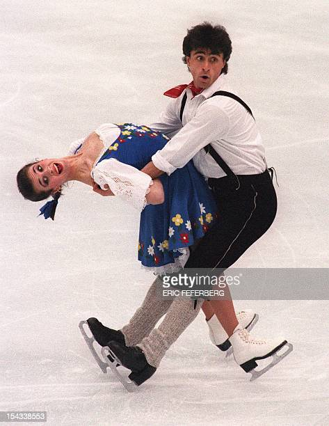 French ice dancing partners Paul and Isabelle Duchesnay perform their original program at the Winter Olympic Games 16 February 1992 in Albertville...