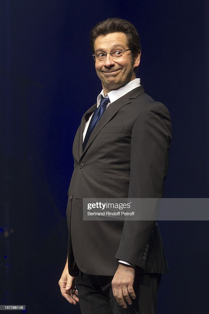 French impersonator Laurent Gerra imitates French President Francois Hollande during his One Man Show at Palais des Congres on November 29, 2012 in Paris, France.