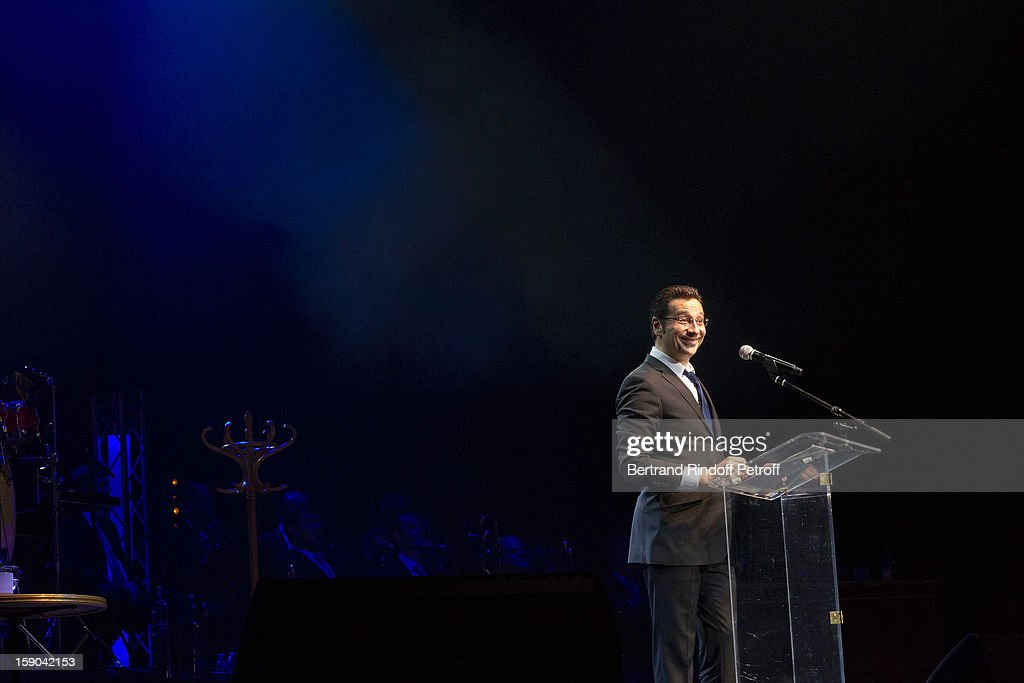 All captions used with this image must detail the personality being impersonated by Laurent Gerra) (FRANCE TABLOIDS OUT) French impersonator Laurent Gerra imitates French President Francois Hollande during his one man show at Olympia hall on January 5, 2013 in Paris, France.