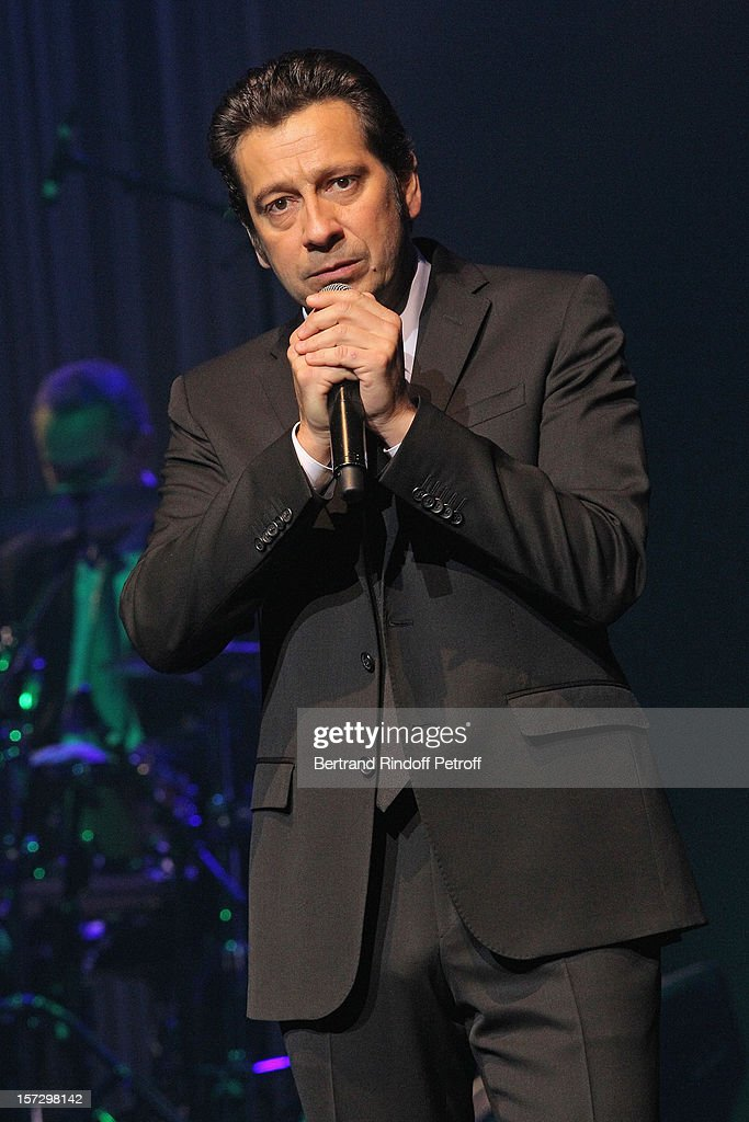 French impersonator Laurent Gerra imitates singer Renaud during his One Man Show at Palais des Congres on November 28, 2012 in Paris, France.